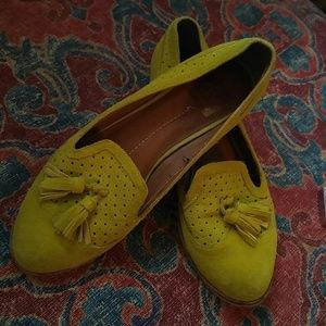Suede tassel loafers in mustard yellow